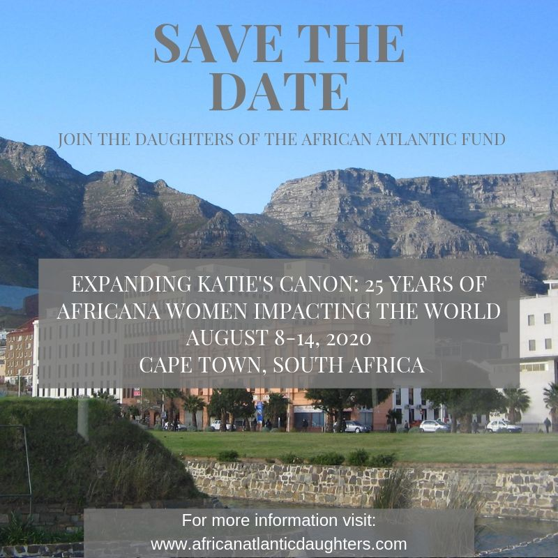 Daughters of the African Atlantic Fund Save the Date 2020 event flyer for Cape Town, South Africa